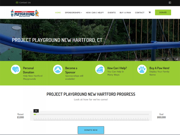 Quadro Marketing designed and developed a new website and designed a new logo for Project Playground New Hartford. The site was established to help raise donations to build new playgrounds at the 2 elementary schools in New Hartford, CT.